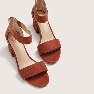 NEW Wide Block Heel Ankle Strap Sandal Size 9W